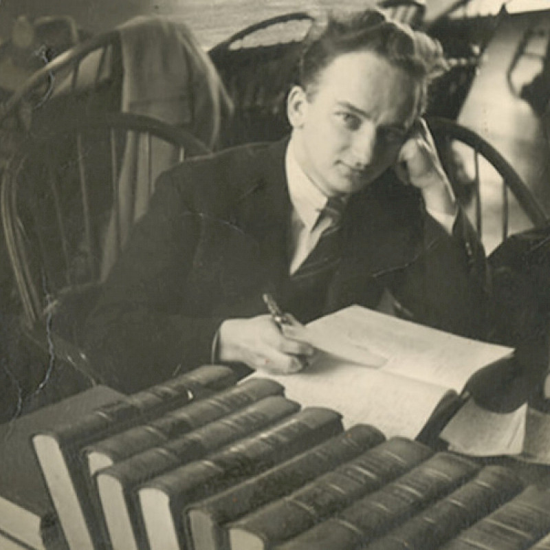 Ben in the Harvard Law Library, 1943