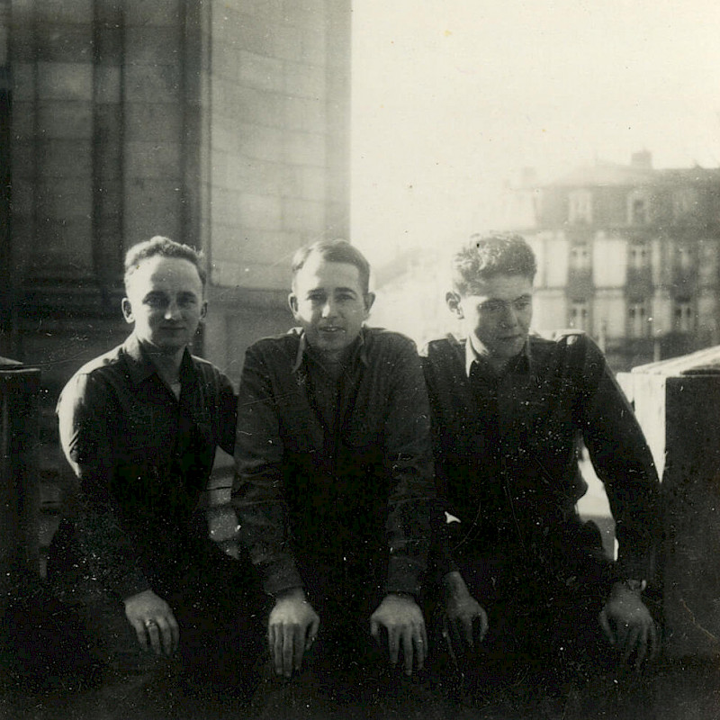 Ben (left) in Luxembourg City, February 1945