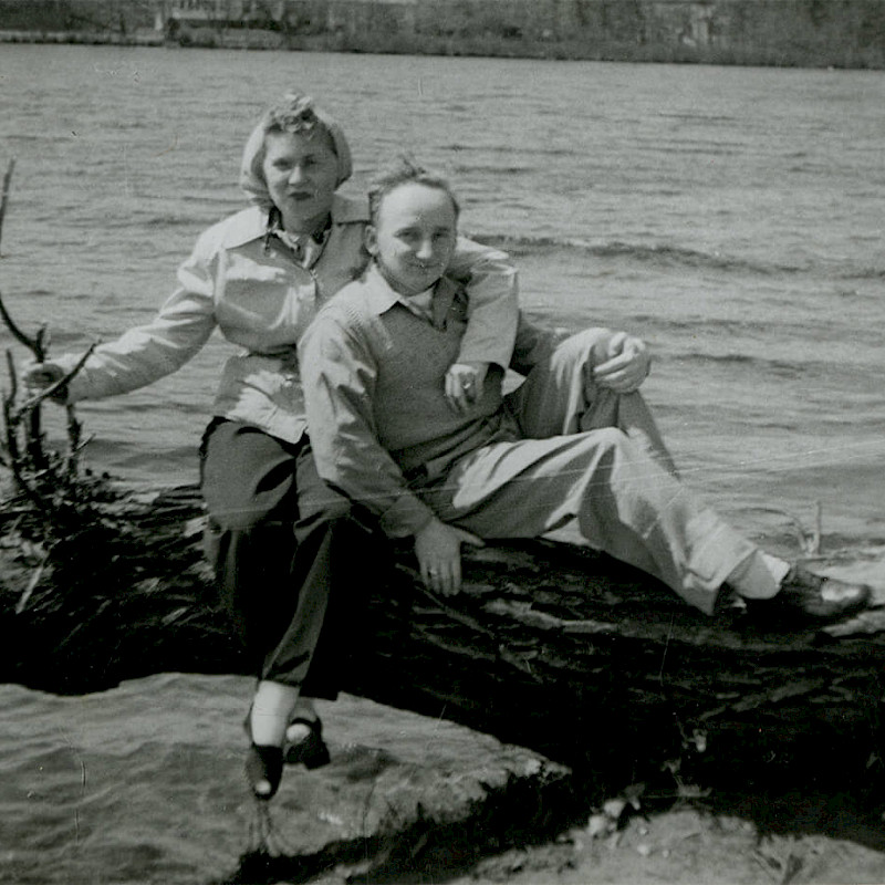 Ben and Gertrude by the water on their honeymoon in New Jersey, April 1946