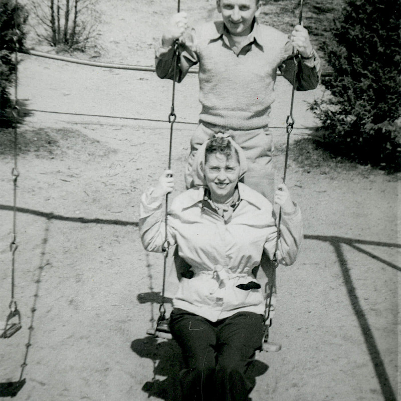 Ben and Gertrude on a swing on their honeymoon in New Jersey, April 1946