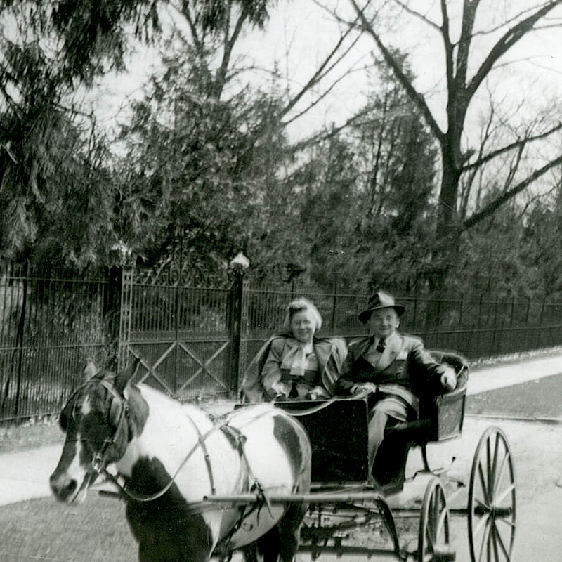 Ben and Gertrude riding in a horse-drawn carriage on their honeymoon in New Jersey, April 1946