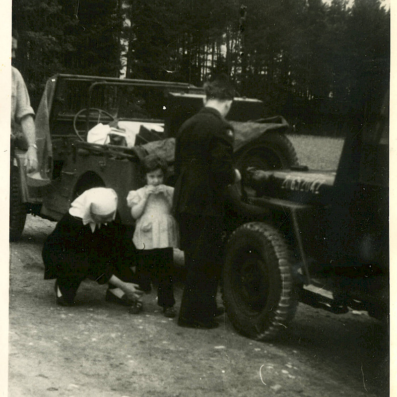 Ben standing by a jeep in Bavaria, 1946