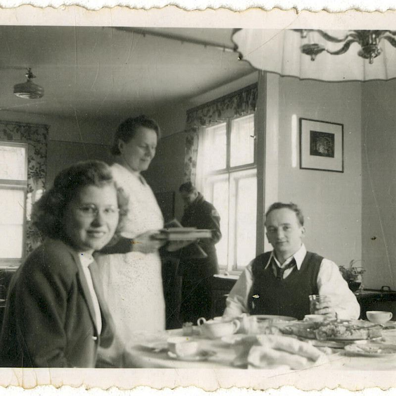 Ben and Gertrude eating Sunday breakfast at home in Berlin, 1946