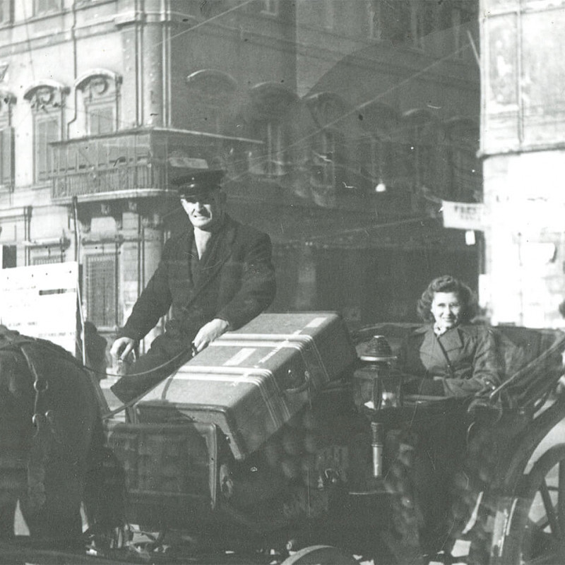 Gertrude with luggage in Rome, December 1946