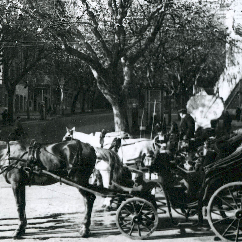 Horse-drawn carriages in Rome, December 1946