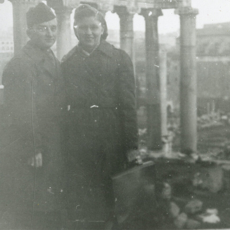 Ben and Gertrude visiting ruins in Rome, December 1946