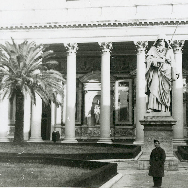 Ben at the Statue of Saint Paul in Rome, December 1946