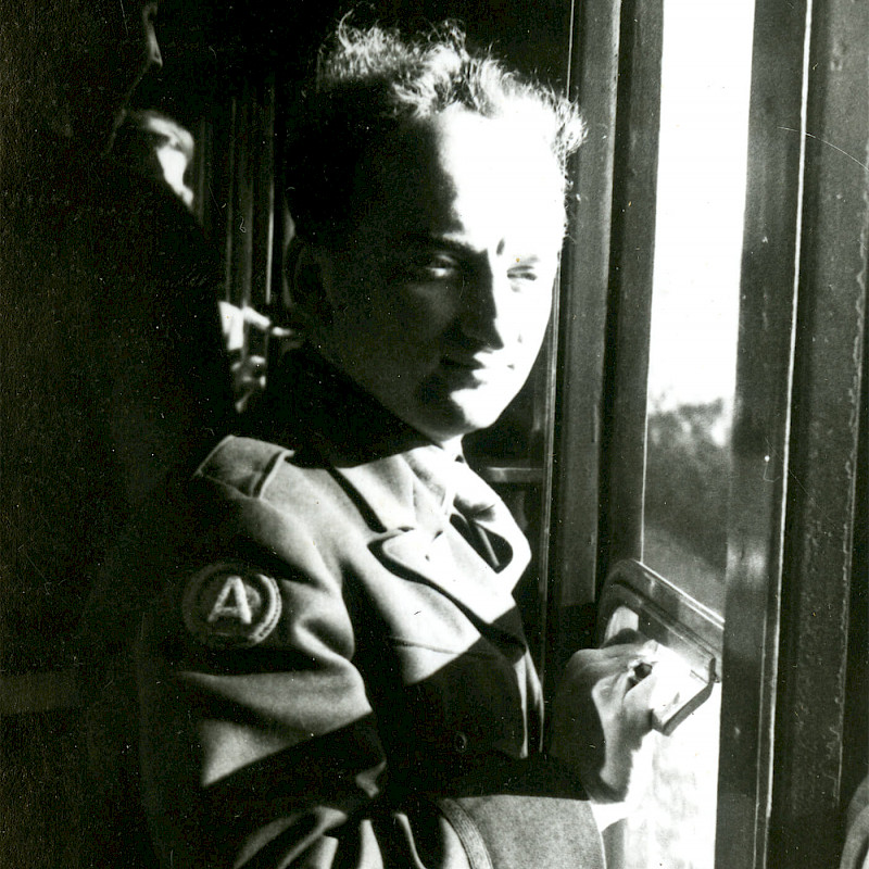 Ben on a train in Rome, December 1946