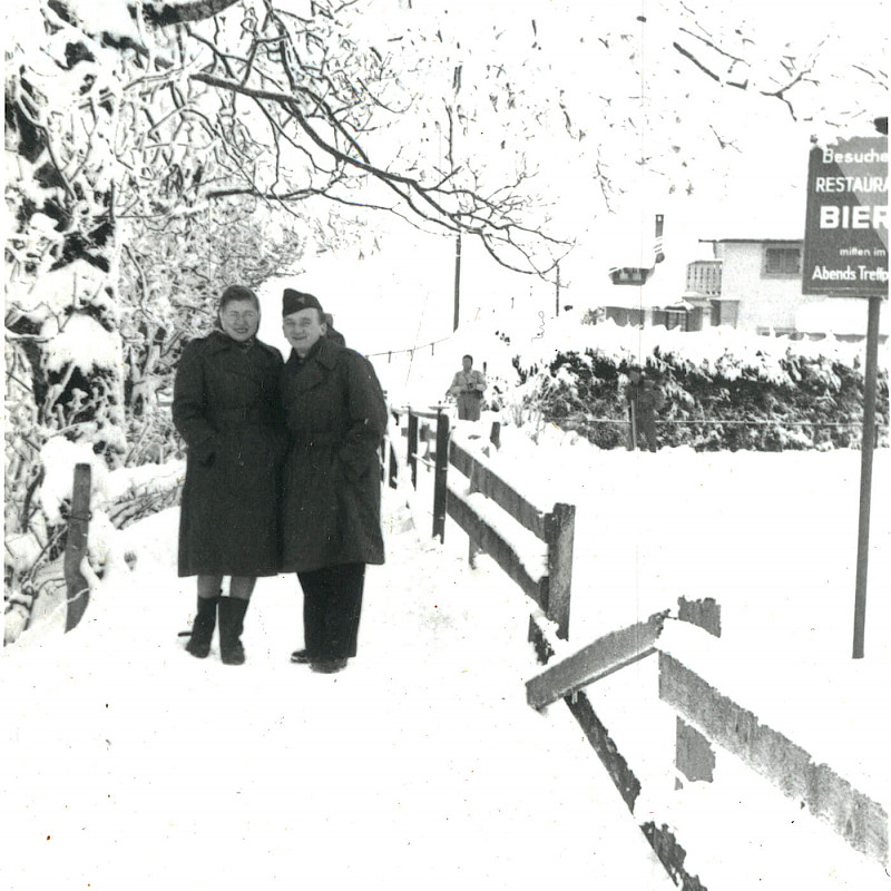 Ben and Gertrude on the way to Engelberg Mountain in Switzerland, December 1946