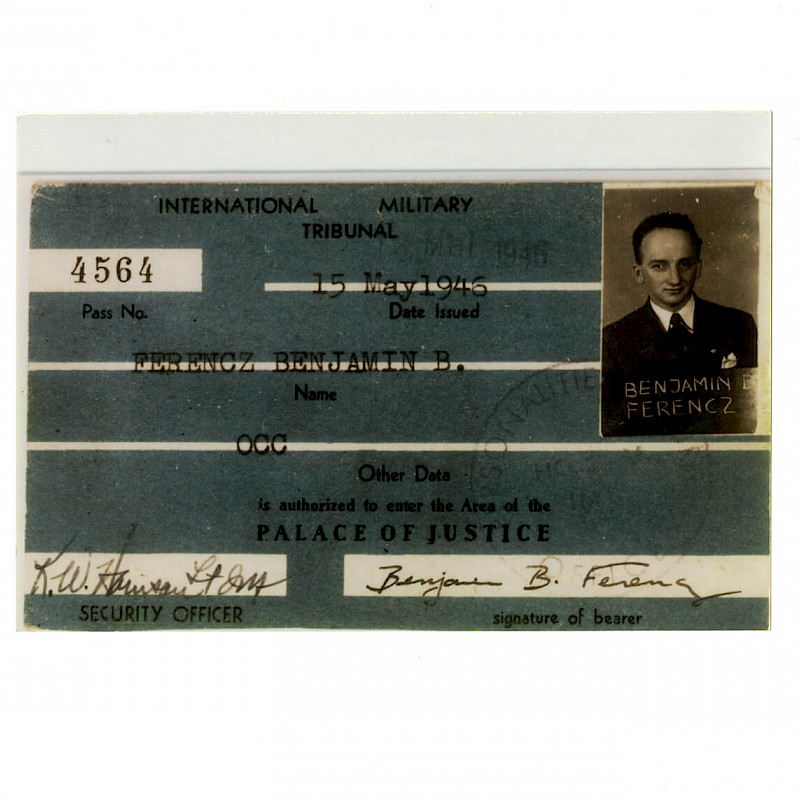 Ben's official pass into the Palace of Justice at the International Military Tribunal, May 15, 1946