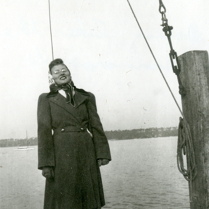 Gertrude posing for a picture in Berlin, November 1946