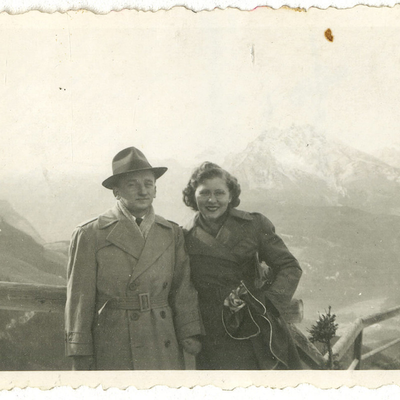 Ben and Gertrude at a Hitler lookout in Berchtesgaden in Bavaria, Germany, October 1946